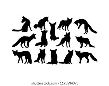 Fox Silhouettes, art vector design