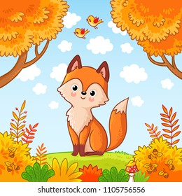 The fox sits in a clearing in the forest. Cute animal. Vector illustration with a predator in a children's style.