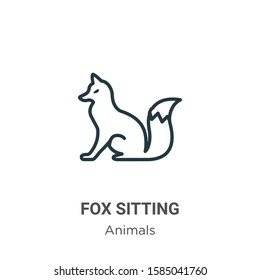 Fox sitting outline vector icon. Thin line black fox sitting icon, flat vector simple element illustration from editable animals concept isolated on white background
