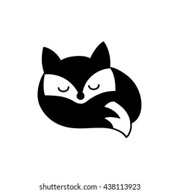Fox sleep. Vector logo. Black isolated silhouette, cute imprint, small sign,