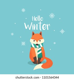 Fox with snow falling winter background