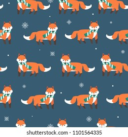 Fox with snow flakes seamless pattern background