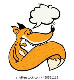 fox with speech bubble cartoon