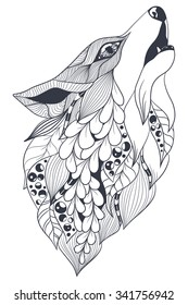 Fox spirit of the forest. Pattern style zentangl. Vector sketch for tattoo. Black and white. Coloring.