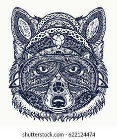 Fox tattoo art. Fox viking in the celtic style, tattoo art. Wolf t-shirt design art animals. Animals in ethnic style