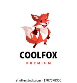 fox thumb up mascot character logo vector icon illustration