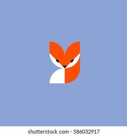 Fox. Vector logo mark template or icon