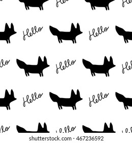 Fox vector seamless monochrome pattern. Graphic tile. Print with cute symbol fox. Endless texture. Design textile. Elegance wallpaper with silhouette pets.