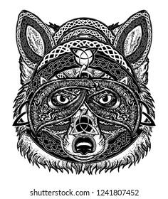 Fox viking in the celtic style, tattoo. Wolf t-shirt design art animals