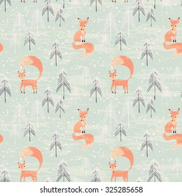 Fox in winter pine forest. Seamless pattern with hand drawn design for Christmas and New Year greeting cards, fabric, wrapping paper, invitation, stationery.
