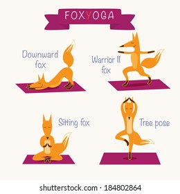 The fox yoga. The set of four cute foxes doing different yoga poses on the mat. Sport and relaxation.