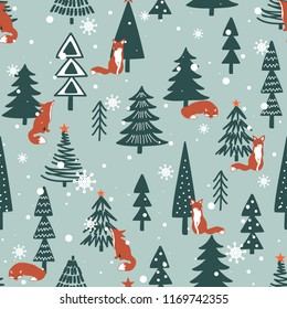Foxes, fir-trees, snow, hand drawn backdrop. Colorful seamless pattern with animals. Cute wallpaper, good for printing. Overlapping background vector. Design illustration. Happy New Year. Winter time
