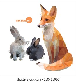Foxes and hares. funny vector illustration in polygonal (low poly) style cartoon Fox, rabbit. illustration of the animals of the forest, the hare and the Fox sitting sideways.