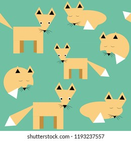 Foxes seamless pattern. Vector illustration of various foxes made by geometrical shapes on turquoise background