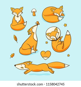 Foxes set, vector cute illustration with a fox in space
