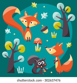 Foxes, squirrels, trees, acorns and leafs