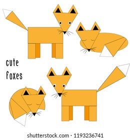 Foxes. Vector illustration of various foxes. White background