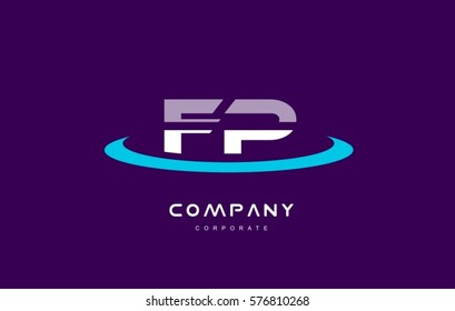 fp f p cyan magenta blue letter combination alphabet vector company logo icon sign design template