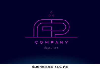 fp f p letter alphabet text pink purple dots contour line creative company logo vector icon design template