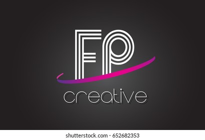 FP F P Letter Logo with Lines Design And Purple Swoosh Vector Letters Illustration.