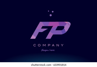 fp f p polygon polygonal letter alphabet text pink purple dots creative company logo vector icon design template