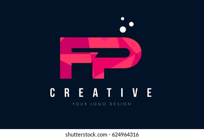 FP F P Purple Letter Logo Design with Low Poly Pink Triangles Concept