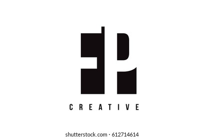 FP F P White Letter Logo Design with Black Square Vector Illustration Template.