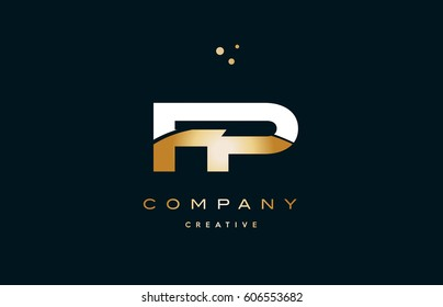 fp f p  white yellow gold golden metal metallic luxury alphabet company letter logo design vector icon template