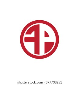 FP initial letters circle business logo red