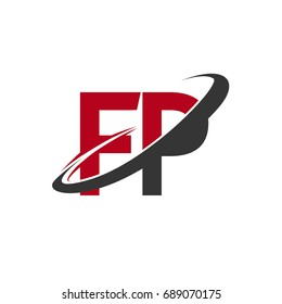 FP initial logo company name colored red and black swoosh design, isolated on white background. vector logo for business and company identity.