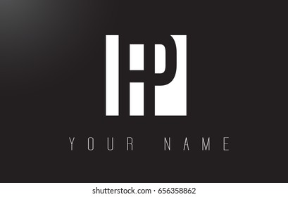 FP Letter Logo With Black and White Letters Negative Space Design.