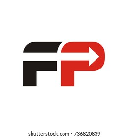 FP logo initial letter design template vector with arrow in negative space