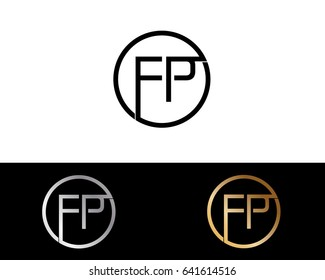 Fp Logo. Letter Design Vector with Red and Black Silver, Gold  Colors