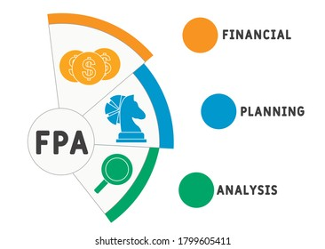 FPA  - financial planning and analysis. acronym business concept. vector illustration concept with keywords and icons. lettering illustration with icons for web banner, flyer, landing page
