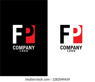 fp/pf Initial abstract company Logo Design with negative space. company logo template vector