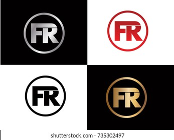 FR Circle Letter Logo Design with RED GOLD BLACK Silver Vector Illustration