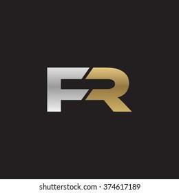 FR company linked letter logo golden silver black background
