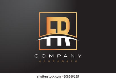 FR F R Golden Letter Logo Design with Swoosh and Rectangle Square Box Vector Design.