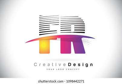 FR F R Letter Logo Design With Creative Lines and Swosh in Purple Brush Color Vector Illustration.