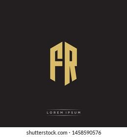 FR F R Logo Emblem Capital Letter Modern Template EPS 10 With Black Background