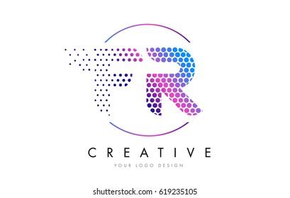 FR F R Pink Magenta Dotted Bubble Letter Logo Design. Dots Lettering Vector Illustration