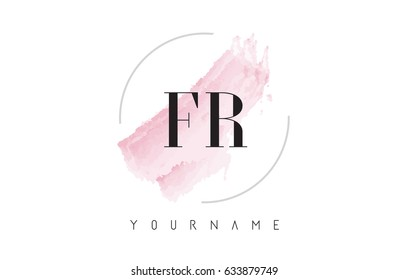 FR F R Watercolor Letter Logo Design with Circular Shape and Pastel Pink Brush.