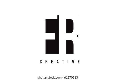 FR F R White Letter Logo Design with Black Square Vector Illustration Template.