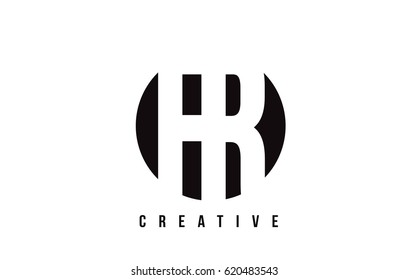 FR F R White Letter Logo Design with Circle Background Vector Illustration Template.