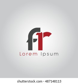 fr initial letter linked lowercase logo. f and r vector template design.