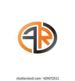FR initial letters looping linked ellipse logo orange black