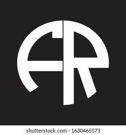 FR Initial Logo design Monogram Isolated on black and white
