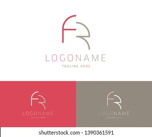 FR initial logo design with pink and light brown colors. FR monogram with elegant thin line letters.