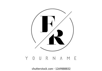 FR Letter Logo with Cutted and Intersected Design and Round Frame Vector Illustration