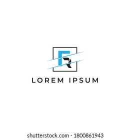 FR Letter Logo Design with Creative Modern Trendy Typography with blue and black color